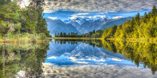 Fototapeta Jezioro lake-matheson-panorama-new-zealand