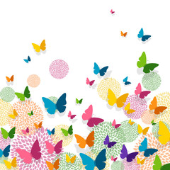 Naklejka Do pokoju dziecka Vector Illustration of a Greeting Card Design with Colorful Paper Butterflies and Floral Elements