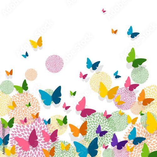 Ilustracja wektorowa wzoru kartkę z życzeniami z kolorowe motyle papieru i elementy kwiatowy