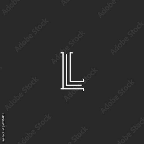 Hipster Letter L Monogram Logo Black And White Vintage Thin Lines