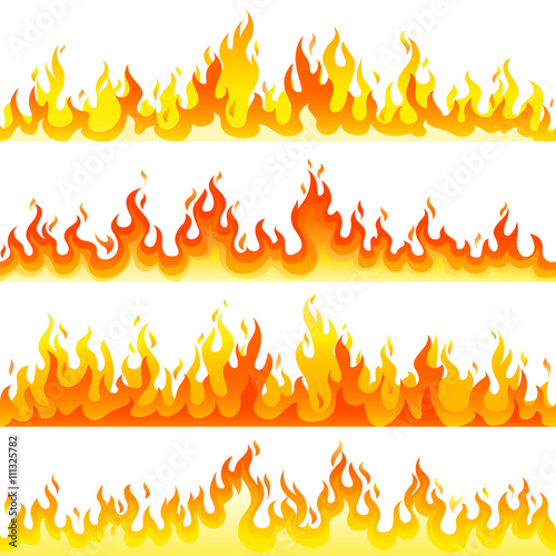 Red Burning Fire Flame Logo set design vector template. Wallpaper Mural