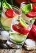Homemade delicious lemonade with strawberry, lemon, cucumber and