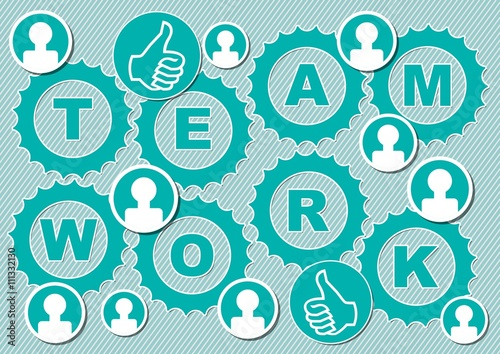 teamwork presentation slice with inscription team work in gear