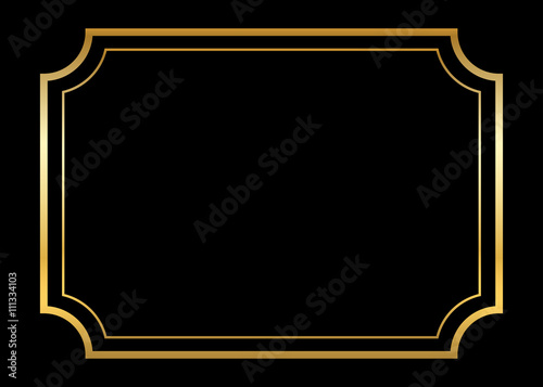 Gold Frame Beautiful Simple Golden Design Vintage Style Decorative Border Isolated On Black