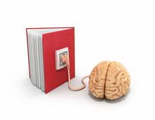Book Charging Brain Concept 3d Illustration