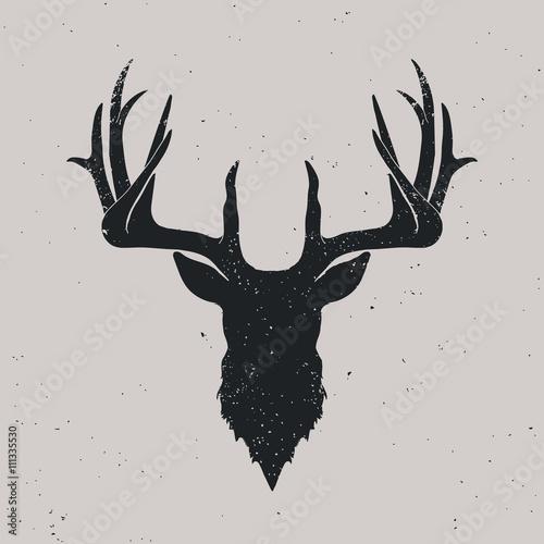 Fotografie, Obraz  Deer head silhouette