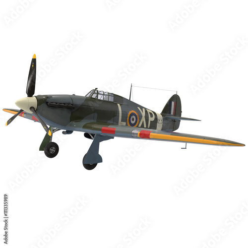 Cuadros en Lienzo Hawker Hurricane Aircraft isolated on white 3D Illustration