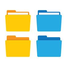 File Folder In Flat Style.