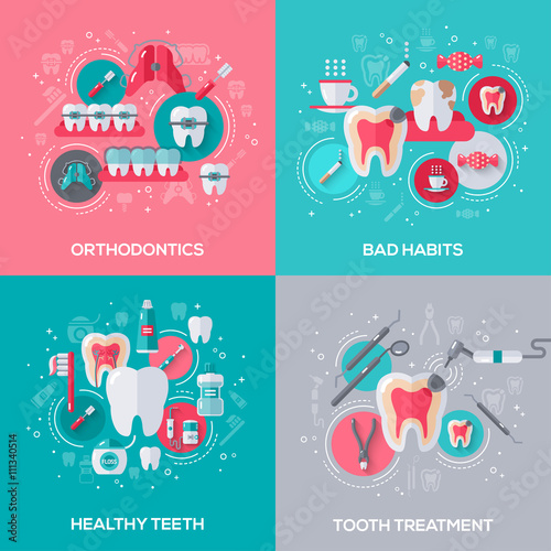 Fotografia  Dentistry Banners Set With Flat Icons.