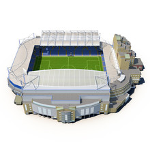 Stamford Bridge Stadium On White 3D Illustration