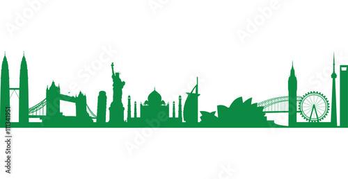 Foto op Plexiglas Groene world landmark group in green