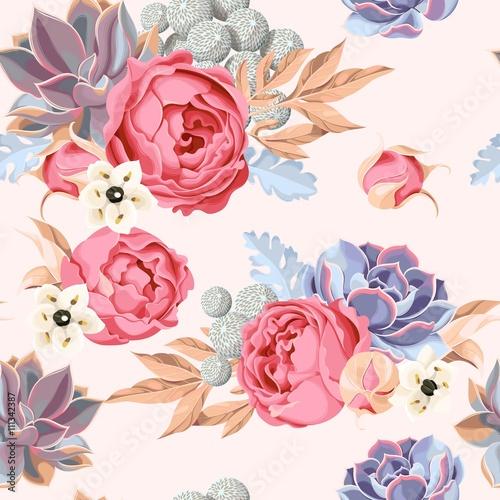 Fototapeta piwonie i róże