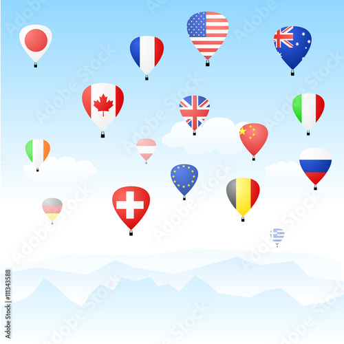 Poster Balloon Floating hot air balloons depicting national flags