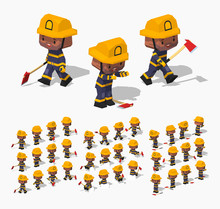 Firefighter. 3D Lowpoly Isomet...