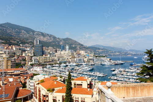 Garden Poster Napels Monte Carlo harbor with luxury yachts and the city skyline