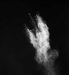White powder on black background