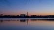 Time lapse of sunrise on Washington DC monuments. The Lincoln Memorial and Washington Monument can be seen across the Potomac River.