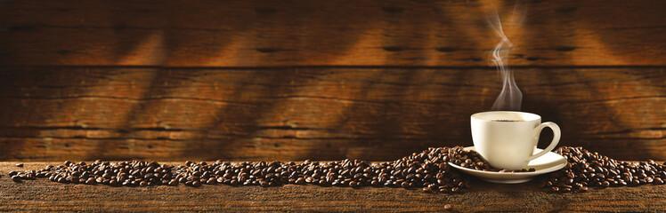 Panel Szklany Filiżanka i ziarna kawy