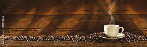 Keuken foto achterwand Koffiebonen Filiżanka i ziarna kawy