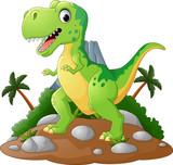 Fototapeta Dinusie - Cartoon Cute tyrannosaurus cartoon