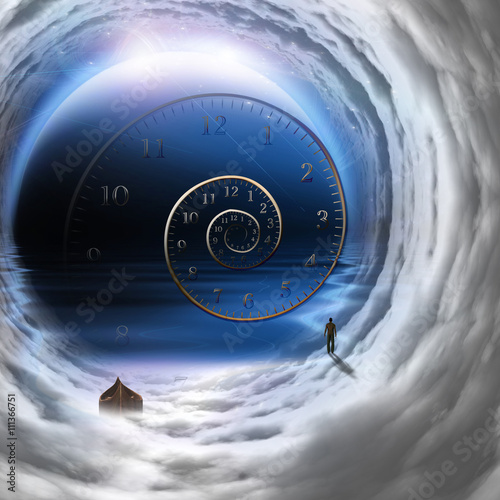 Αφίσα  Man with boat in time tunnel