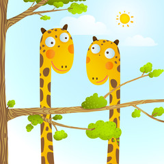 FototapetaFun Cartoon Baby Giraffe Animals in Wild for Kids Drawing