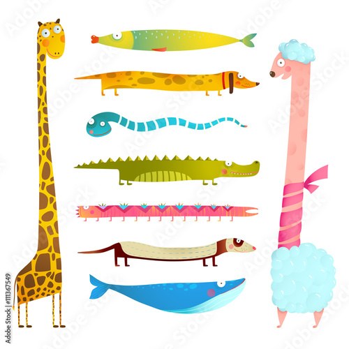 plakat Fun Cartoon Long Animals Illustration Collection for Kids Design