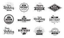 Happy Birthday Typographic Set. Vector Design.