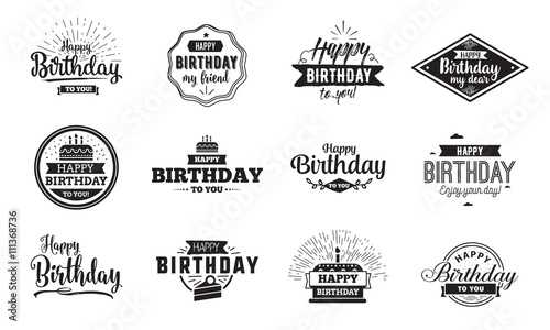 Photo  Happy Birthday typographic set. Vector design.
