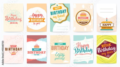 Photo  Happy Birthday greeting cards set. Vector design.
