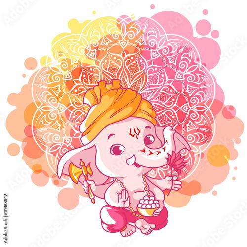 Photo  Little cartoon Ganesha. Sunny day.