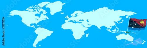 Pianeta Terra 3d Con Bandiera Al Vento Papua Nuova Guinea Kaufen