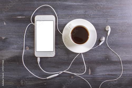 Fototapeta Coffee and mobile phone top obraz na płótnie