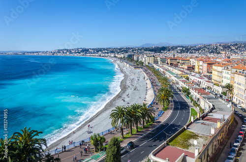 Deurstickers Nice Panoramic view on Nice city with mountains and azure sea