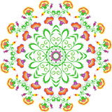 Abstract round ornament, mandala with indian styled flowers - 111375565