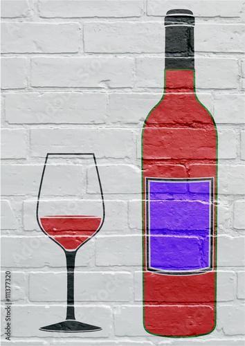 Photo  Art urbain, bouteille et verre de vin