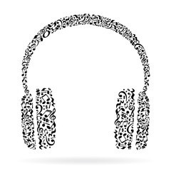 FototapetaHeadphones made of music notes. Black notes pattern. Black and white design. Earphone shape. Poster and decoration idea.