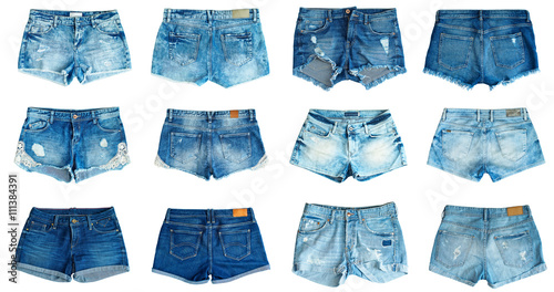 Pinturas sobre lienzo  collection of different jeans shorts on a white background