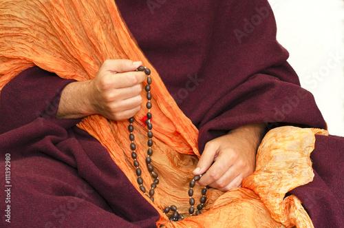 Wallpaper Mural Buddhist Monk  mala beads