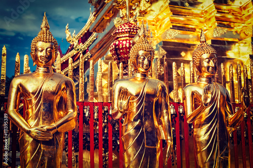 Gold Buddha statues in Wat Phra That Doi Suthep Slika na platnu