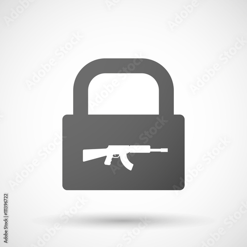 Isolated lock pad icon with a machine gun sign - Buy this