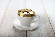 Cup Of Coffee With Gold Coins ...