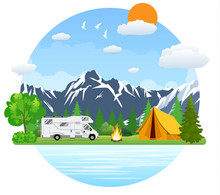 Forest Camping Landscape With...