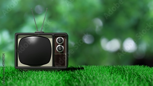 Antique TV set on green grass with abstract nature