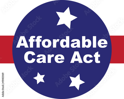 Affordable Care Act words with red, white and blue and stars web or graphic icon Tablou Canvas