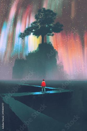człowiek rozpoczyna podróż krętą drogą do wielkiego drzewa na tle nocnego nieba, ilustracja