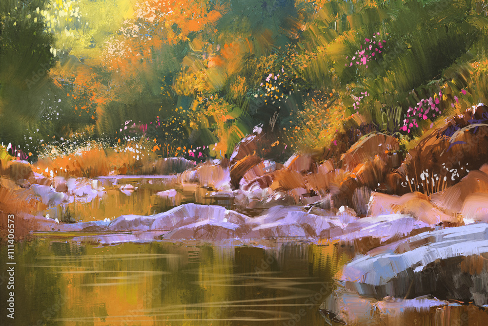 river lines with stones in beautiful forest,nature,illustration painting