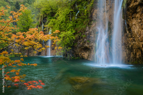 scene with waterfall and orange maple branch - 111411578