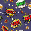 Colorful speech bubbles and explosions in pop art style. design comic. Ok, cool, yes, pow, oops, comic fonts.