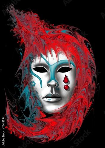 Foto op Aluminium Carnaval masque de carnaval de Venise rouge et bleu